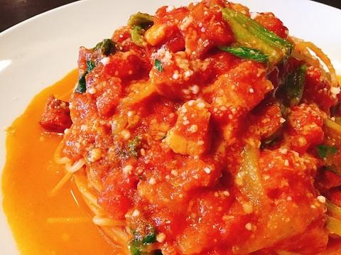 5月27日 美明豚バラ肉とチンゲン菜のトマトラグー